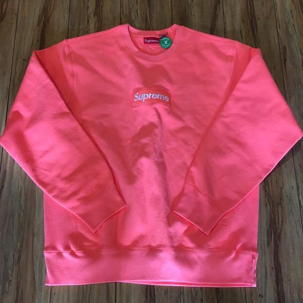 Supreme Box Logo Crewneck Fluorescent Pink F/W 18' Sz XL (#7730)