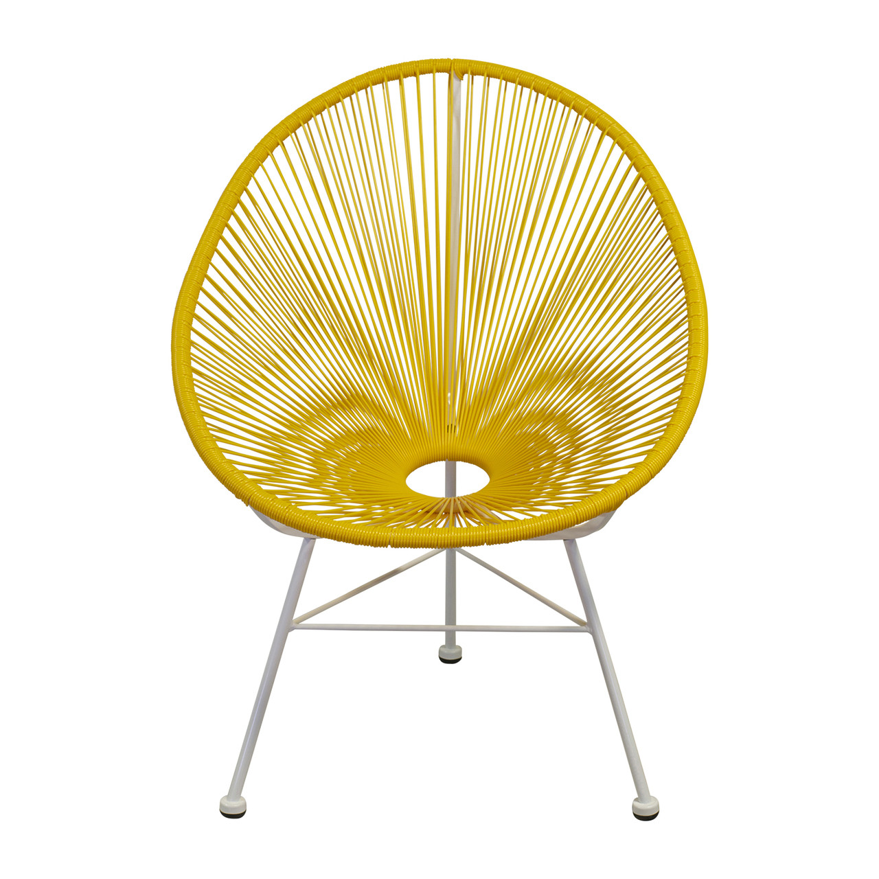 Acapulco Indoor Outdoor Lounge Chair Yellow Weave On White Frame