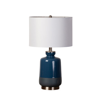 Two Toned Teal Ceramic Table Lamp