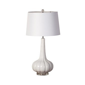 White Rippled Ceramic Table Lamp