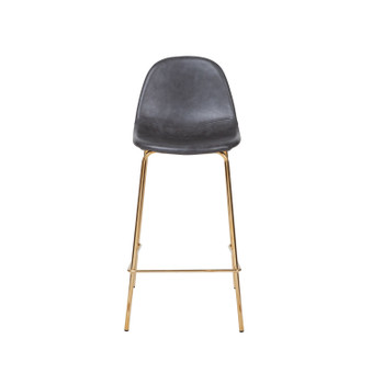Smart Counter Stool in Distressed Grey Leather - Gold Frame
