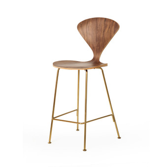 Satine Style Counter Stool in Champagne Gold and Walnut