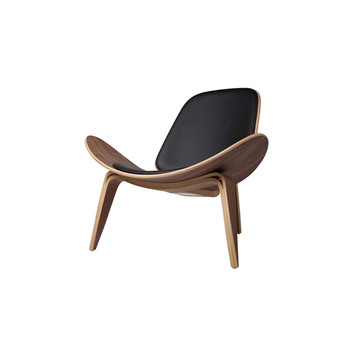 Athena 07 Lounge Chair in Black Leather