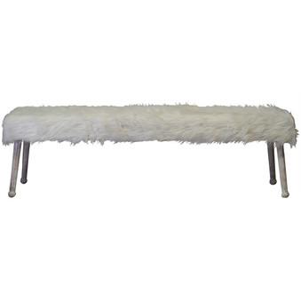 Luxe White Sheepskin Bench