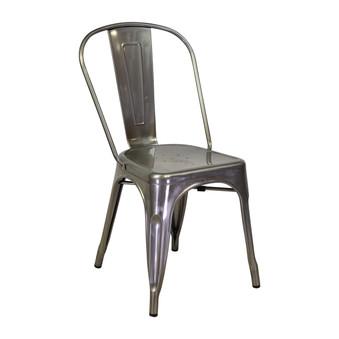 Bastille Side Chair in Matte Galvanized Steel