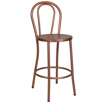 No. 18 French Cafe Counter Stool, Copper Metal