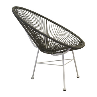 Acapulco Indoor / Outdoor Lounge Chair, Grey Weave on White Frame