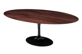 Saarinen Style Tulip Walnut Oval Dining Table 77
