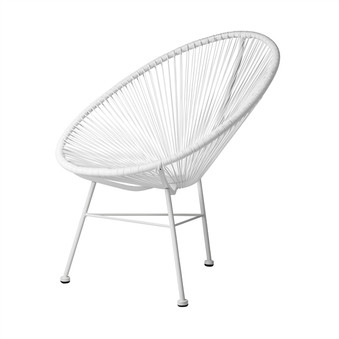 Acapulco Indoor / Outdoor Lounge Chair, White Weave on White Frame
