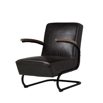 Savanah Club Chair in Espresso Black Leather