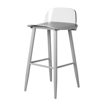 Nerd Replica Bar Stool in Grey with Clear Back