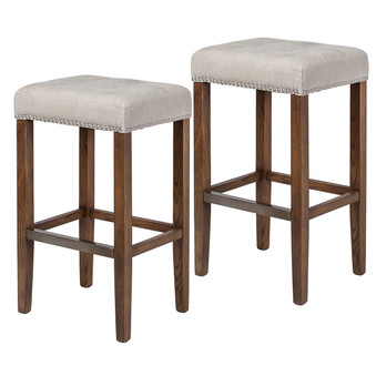 Set of 2 Ash Bar Stool in Beige