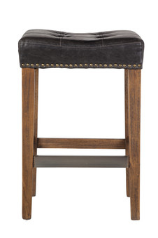 Ash Counter Stool in Biker Black Leather