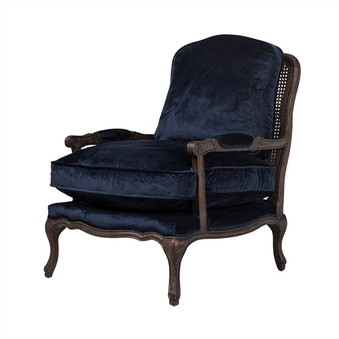 French Quarter Accent Chair in Navy Blue Velvet