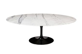 """Saarinen Style Tulip Marble Dining Table, 77"""" Oval"""