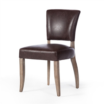 Adele Leather Side Chair in Vintage Brown