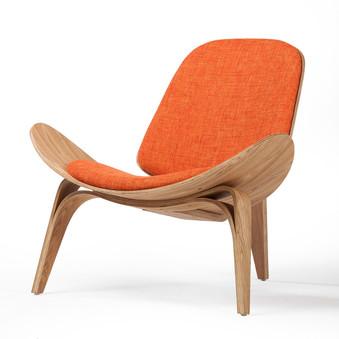Athena 07 Lounge Chair in Orange Cotton Linen