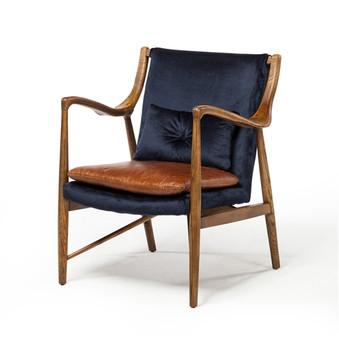 Copenhagen Midcentury Chair with Walnut Frame in Blue Velvet