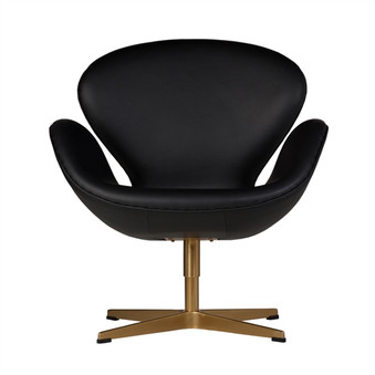 Swan Chair in Black Leather & Champagne Gold
