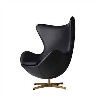 Arne Jacobsen Inspired Egg Swivel Chair In Black Leather