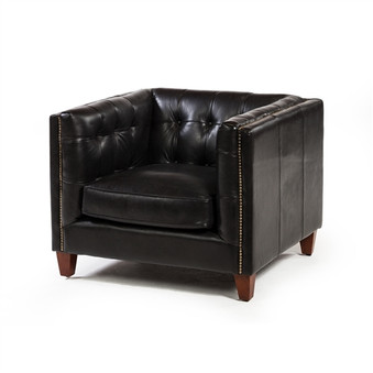 Cape Town Club Chair in Black Espresso Leather
