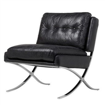 Capetown Occasional Chair in Black Leather