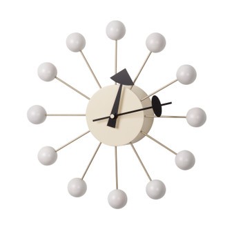 Mid Century Modern Ball Clock - White