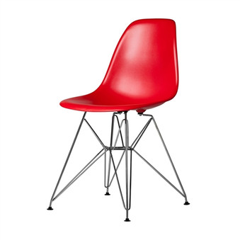 Molded Mid-Century Red Side Chair
