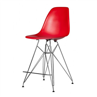 Molded Mid-Century Red Counter Stool
