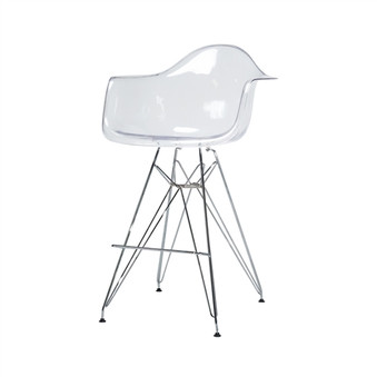 Molded Mid-Century Clear Counter Stool