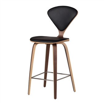 Satine Inspired Counter Stool in Black Leather
