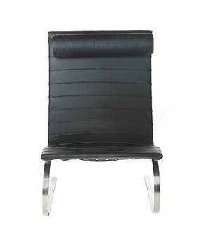 Easy Chair in Black Leather with Head Rest