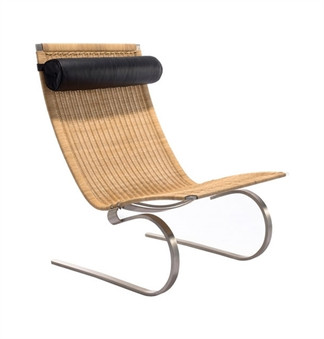 Easy Chair in Rattan with Black Leather Head rest