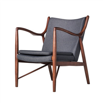 Finn Juhl Inspired 45 Chair Walnut Frame in Dark Grey