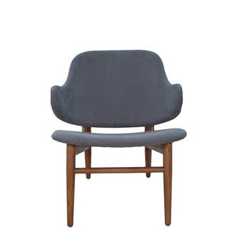 Cherish Wood Inspired Lounge Chair-Dark Grey