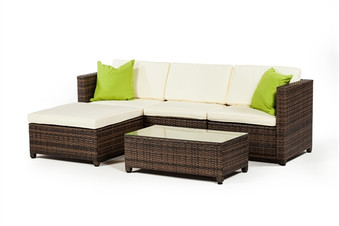 Outdoor Furniture 3 Piece Set with Ottoman in Brown Rattan