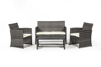 Outdoor Furniture 4 Piece Set in Grey Rattan
