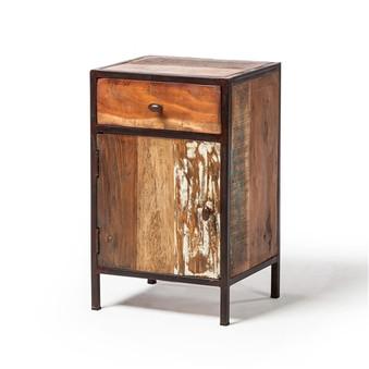 Reclaimed Mango Wood Nightstand with Metal Frame