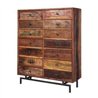 Jaipur Reclaimed Iron Base Chest with 14 Drawers