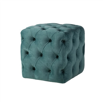 Grace Tufted Ottoman in Peacock Blue