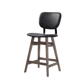 Sloan Counter Stool in Black Leather