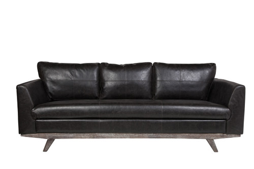 Maxwell 3 Seater Leather Sofa in Distressed Biker Black Leather ...