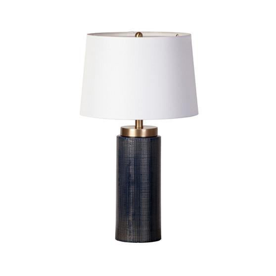 Blue Glaze Grid Table Lamp
