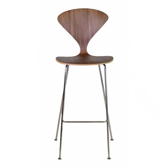 Satine Molded Plywood Bar Stool With Metal Legs