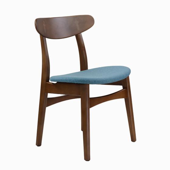 Wegner Style Buhl Side Chair in Blue