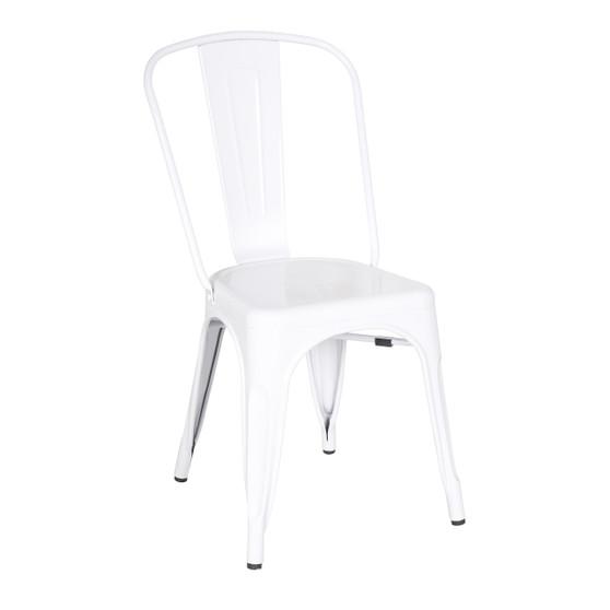 Bastille Side Chair in White Galvanized Steel