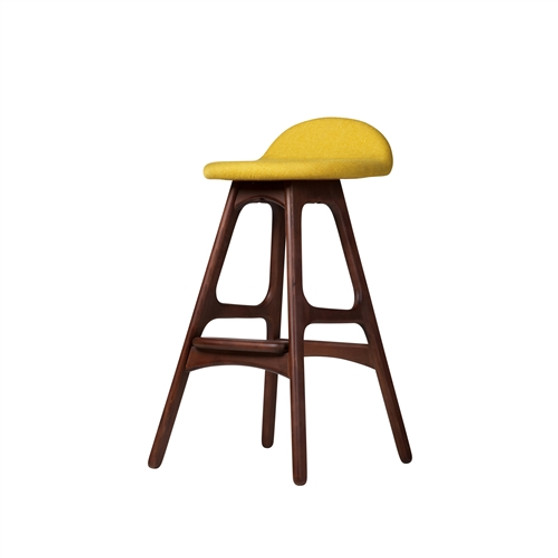 Erik Buch OD Mobler Teak Inspired Counter Stool in Yellow