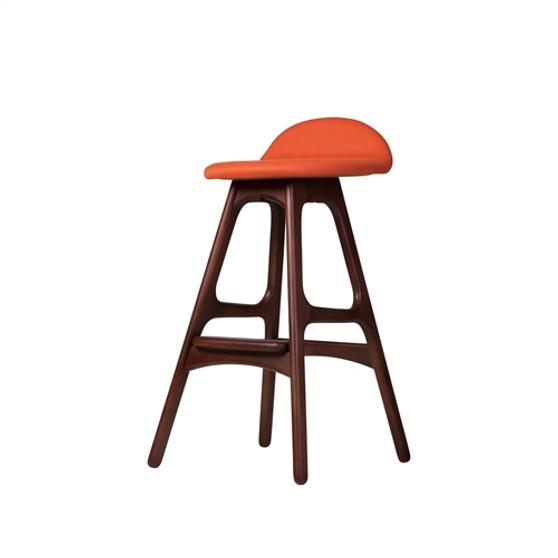 Erik Buch OD Mobler Teak Inspired Counter Stool in Orange