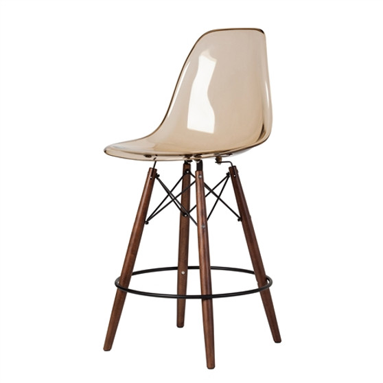 Molded Mid-Century Acrylic Counter Stool in Amber