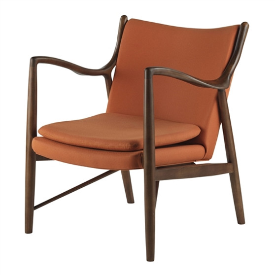 Finn Juhl Inspired 45 Chair Walnut Frame in Orange